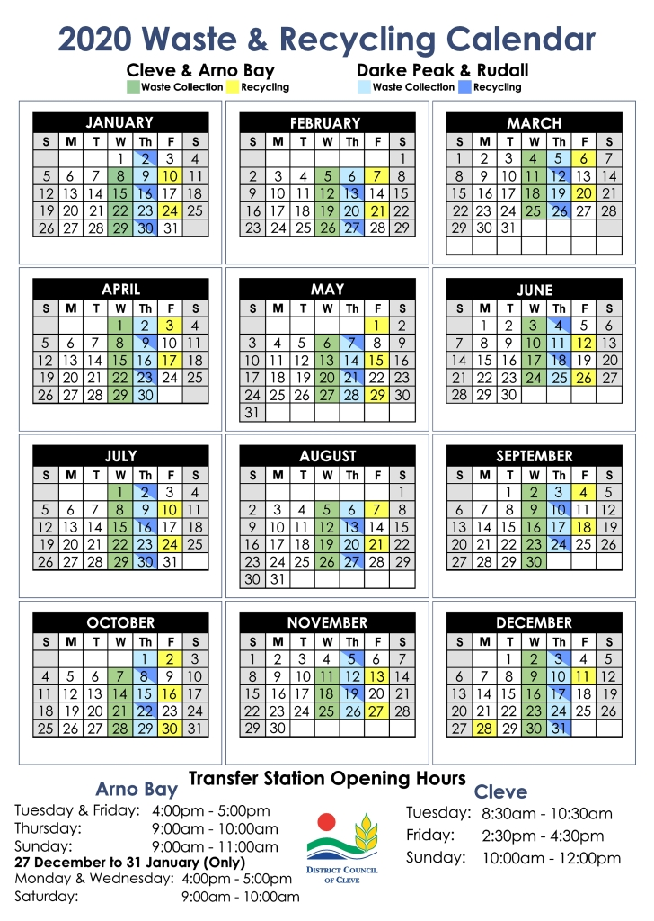 2020 Waste & Recycling Calendar