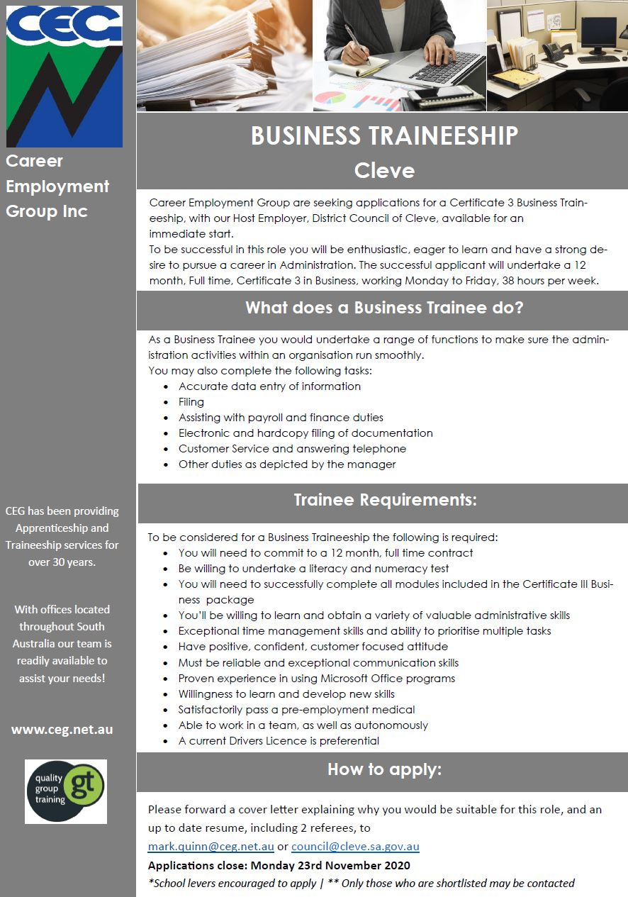 District Council of Cleve Business Traineeship